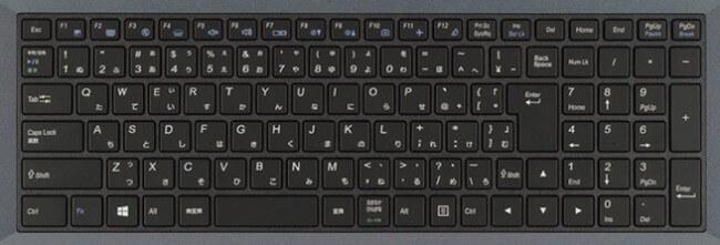 画像はマウスコンピューターのm-Book Wシリーズのキーボード